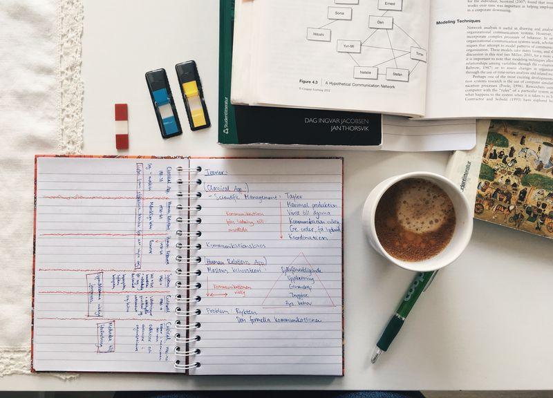 Almanacka på ett bord med en kopp kaffe och andra böcker och lappar.